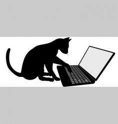 cat on laptop vector image vector image