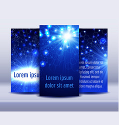 flyers with molecule structure glowing background vector image vector image