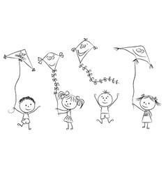 Kids with flying kites vector image