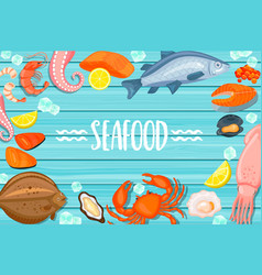 seafood lettering on blue wooden background vector image vector image