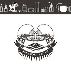 Tattoo shop logo emblem Black and white vector image vector image