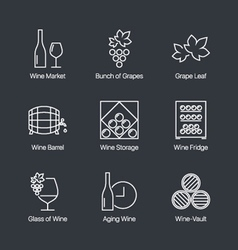 wine icons grey vector image