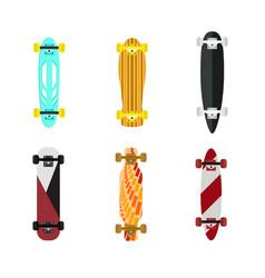 cartoon color skateboard set vector image