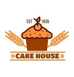Chocolate cake retro badge for bakery design vector image vector image
