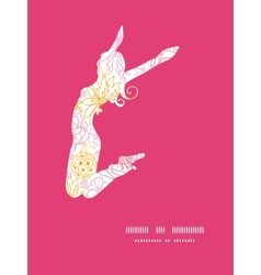 Flowers outlined jumping girl silhouette vector
