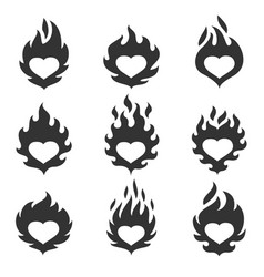 heart flame set vector image