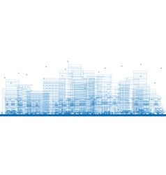 Outline City Skyscrapers vector image vector image