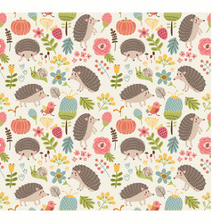 seamless pattern forest with hedgehogs vector image vector image