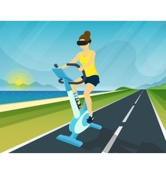 Woman is riding exercise bike through using head vector image
