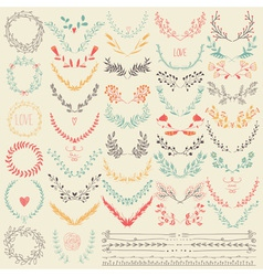 Big collection of hand drawn floral graphic design vector