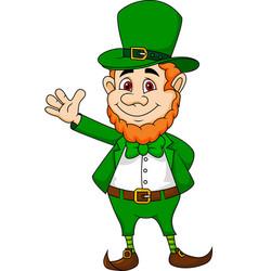 Leprechaun cartoon waving hand vector image vector image