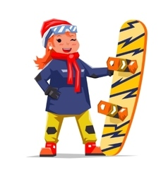 Snowboard Girl Winter Healthy Resort Polygonal vector image