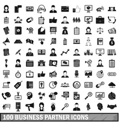 100 business partner icons set simple style vector