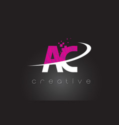 ac a c creative letters design with white pink vector image