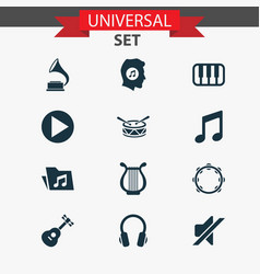 Audio icons set collection of barrel meloman vector