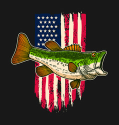 Bass fish background usa flag in grunge vector