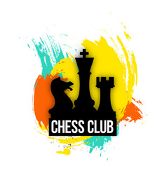 Bright logo for a chess companies club or play vector