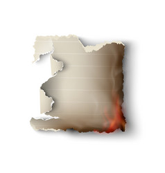 burning design templates torn paper with fire vector image