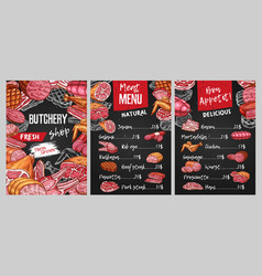 Butcher shop meat menu cover template vector