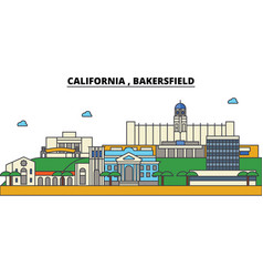 california bakersfield city skyline architecture vector image