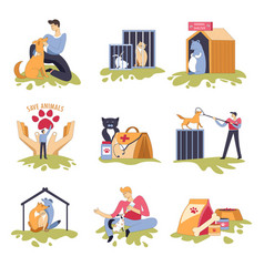 canine and feline shelter dogs and cats house vector image
