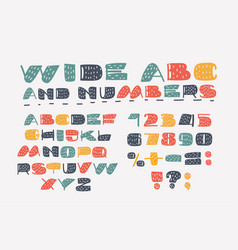 cartoon set font alphabet wide style abc vector image