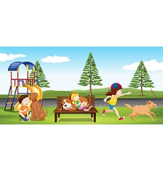 Children hanging out in the park vector