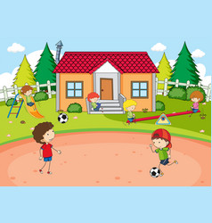 Children playing at house vector