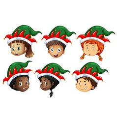 Christmas theme with kids in elf hats vector image