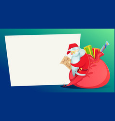claus with a huge bag of gifts reads the letter vector image