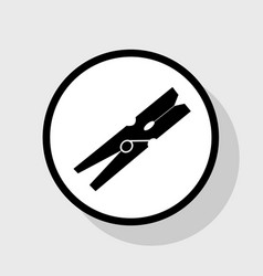 Clothes peg sign flat black icon in white vector
