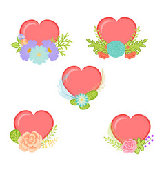 collection hearts with floral element vector image