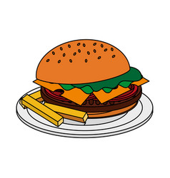 color image cartoon hamburger in dish with french vector image