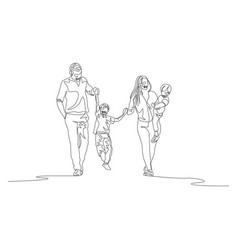 Continuous line family walking holding hands vector