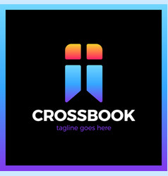 Cross bookmark logotype bible book logotype vector