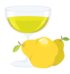 Cup with bubbling lemonade and pears on white back vector