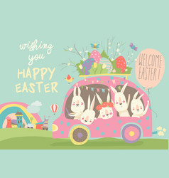 cute cartoon bunnies driving a car with easter vector image