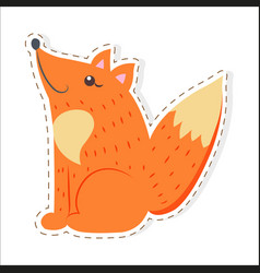 Cute fox cartoon flat sticker or icon vector