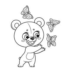 Cute little teddy bear catch butterflies outline vector