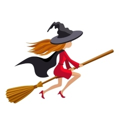 Cute redhead witch flying on a broom vector
