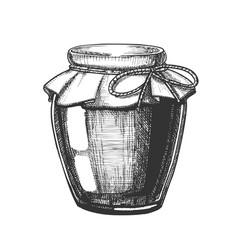 Designed homemade jam glass bottle closeup vector