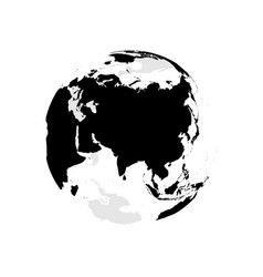 earth globe with black world map focused on asia vector image