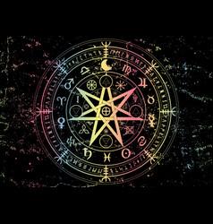 earth zodiac wheel year astrological signs vector image