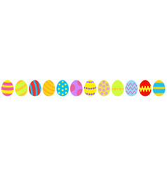 easter egg set line colorful eggs shell vector image