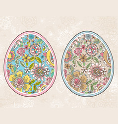 easter egg with spring flowers and leafs vector image