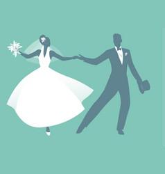 elegant wedding couple dressed in retro vintage vector image