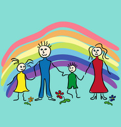 Family and rainbow vector