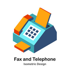 Fax and telephone isometric vector