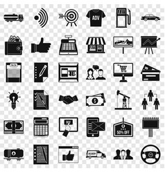 finance business icons set simple style vector image