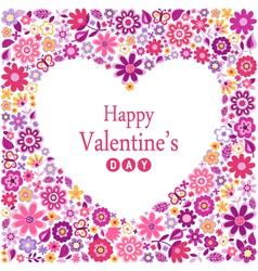 Floral heart card vector